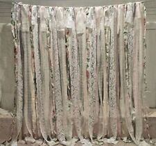 6ft Lace Rags Banner fabric garland ivory pink vtg wedding backdrop roses red