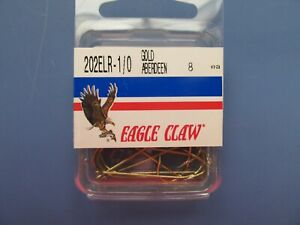 Eagle Claw 202ELR 1/0 Aberdeen Gold fin Lot of 5 packages 40 total hooks.  NEW