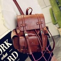 Womens Vintage Leather Large Double Strap Backpack Casual Travel Bags College sz