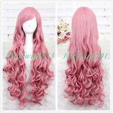 95cm Long Pink Megurine Luka Curly Cosplay Wig CC25 + a wig cap