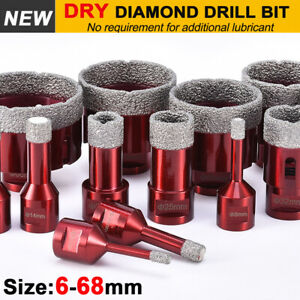 Dry Diamond Drill BitsVacuum Brazed Drill Holesaw Cut Granite Tile Glass 6-68mm