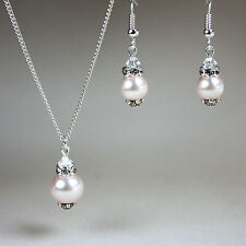 Blush pearls crystals necklace earrings wedding bridesmaid gift party silver set