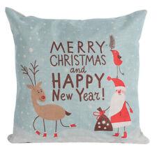 Christmas Santa Clause Pillow Cover Sofa Cushion Cover Linen Square
