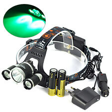 9000lm T6+2R2 XML LED Green&White light Headlamp Hunting Torch+2XCharge+2x18650