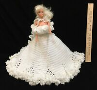 Barbie Doll 1966 Blonde Blue Eyes Mattel Pink Crocheted Wedding Dress Vintage