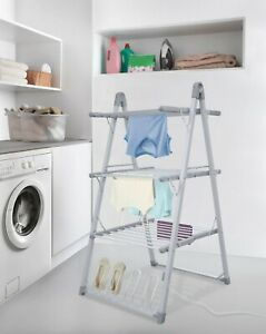 Folding 3 Tier Heated Air Dryer Indoor Clothes Drying Rack Laundry Washing Line