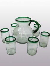 Mexican Glassware - Emerald Green Rim pitcher and 6 drinking glasses set