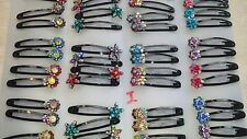 Joblot 24 pairs Mixed design Diamante Metal Hair slide NEW wholesale lot I