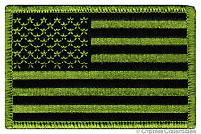 American Flag iron-on Biker Patch Usa embroidered Us Patriotic Camo Green Right