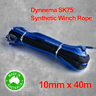 Dyneema SK75 Synthetic Rope, Cable 10mm x 40m, 4WD Offroad Recovery Winch Boat