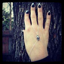 Edgy, Trend Jewelry Silver Skull Chain Slave Bracelet-Finger Bracelet