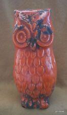 "Dark Orange Ceramic Owl Made to Look Old 8"" NEW"