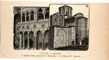 Stampa antica SALONICCO Thessaloniki due Chiese Grecia Greece 1910 Old print