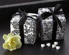 264 Black White Damask Mint Candy Bridal Wedding Favor Boxes w/Satin Ribbon