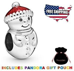 New Authentic PANDORA Sterling Silver S925 ALE Snowman & Christmas Hat Red Charm