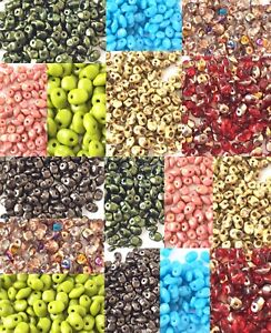 CHOOSE YOUR COLORS!  2.5x5mm 1 Hole SuperUno Czech Glass Seed Beads 22Grams Tube