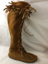Minnetonka Womens 5 Medium Knee High Moccasin Boots Lace Up Leather Fringe Suede