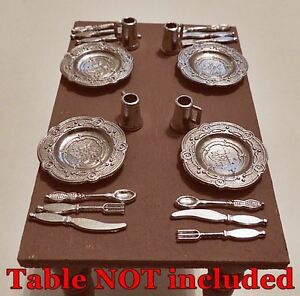 Miniature Pewter DINING Place Settings for 4 for FAIRY GARDEN or Dollhouse 20 pc