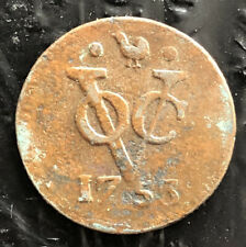 NETHERLANDS EAST INDIES 1753 1 DUIT COPPER WEST FRIESLAND VERY NICE COIN L3