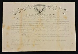 1863 Appointment - David Cornish as Sgt. 24th Maine Mil.- Signed by Atwood Sr&Jr