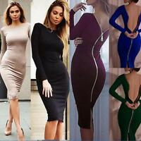 Fashion Women Bodycon Dress Summer Evening Cocktail Party Long Sleeve Midi Dress