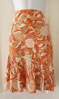 Womens Laura Ashley Beige Peach Floral Flared Pintuck Silk Cotton Skirt 10.
