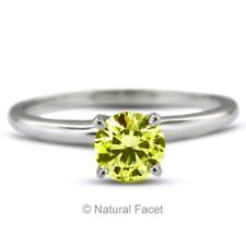 2.04 CT Yellow/SI1/Ideal Round Certify Diamond 14k White Gold Classic Ring 1.6mm