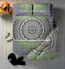 Ombre Mandala Indian Doona Cover Throw Cotton Bed Sheet & Duvet Pillow Cover Set