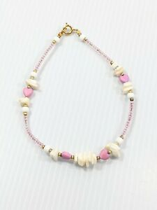 Artisan Pink Glass Seed Bead White Shell Heart Bracelet 9.5 Inches