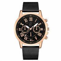 Armbanduhr Damen Herren Metall Uhr Schwarz Gold Elegant Klassisch Trend Quarz ♥