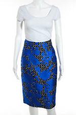 f951a10f34c0 Balenciaga Blue Black Abstract Print Pencil Skirt Size Small New 109425