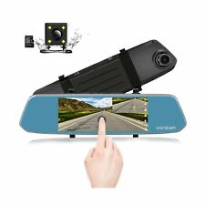 7-Inch Touch Screen Backup Camera Mirror Dash Cam 1080P Front and Rear Dual L...