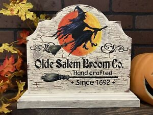Halloween Witch Broom Salem Moon Rustic Table Sign Painting Old Antique Look Art