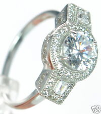 Solid 925 Sterling Silver Lab Simulated Diamond Engagement Ring Sz-6 '