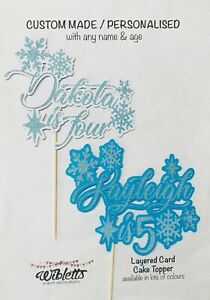 FROZEN WINTER WONDERLAND, PERSONALISED CUSTOM ANY NAME & AGE CAKE TOPPER. SILVER