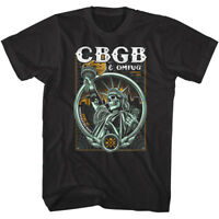 CBGB OMFUG Skeleton Statue of Liberty Mens T Shirt Skull New York Punk Rock Tour