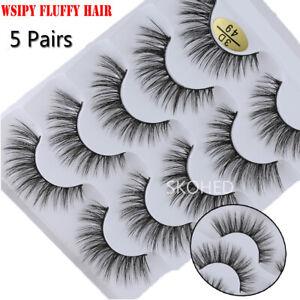 SKONHED 3D Faux Mink Hair False Eyelashes Drama Long Wispy Fluffy Lashes 5Pairs+
