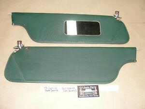73 Cadillac Coupe Deville SUN VISORS MOUNTING BRACKET WITH MIRROR ~ DARK GREEN