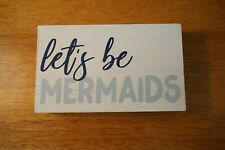 New listing Retro Vintage Style Let'S Be Mermaids Wood Sign Nautical Beach Home Decor New