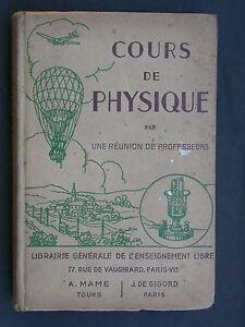 Cours de physique - Librairie de l'enseignement libre 1943 - acoustique fluide