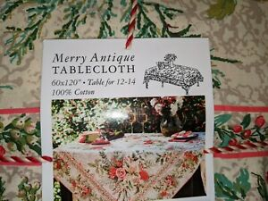 APRIL CORNELL TABLECLOTH MERRY ANTIQUE CHRSTMAS HOLIDAY TABLECLOTH 60 X 120 NEW