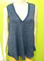 DELETTA Anthropologie Women's Navy Blue Layered Tank Knit Top Blouse Sz M