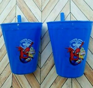 2 Pack Sip A Cup Marvel Spiderman BUILT-IN STRAW Kids Drink Cup Tumbler BPA FREE