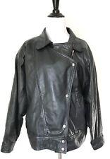 Womens Leather Coat Vintage 80s Large Black Biker Motorcycle Jacket 90s La Vogue