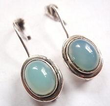 Blue Chalcedony Oval 925 Sterling Silver Wire Back Earrings Corona Sun Jewelry
