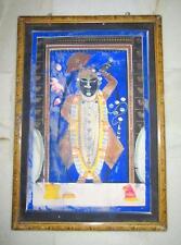 1900 Antique Old Hindu God Shree Nath Ji Fine Hand Big Painting Wooden Framed