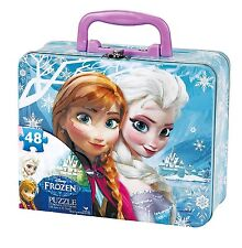 Disney~ELSA and ANNA~48 Piece Puzzle in Collectible Tin with handle~FROZEN~NIB