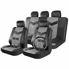 Faux Leather Car Seat Covers Black / Grey 17pc Full Set w/ Steering Wheel