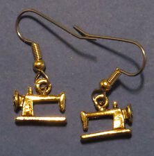 Sewing Machine Earrings 24 Karat Gold Plate Seamstress Stitch