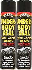 2 x Hammerite Underbody Seal With Waxoyl 600ml Black Underseal Aerosol Vehicle